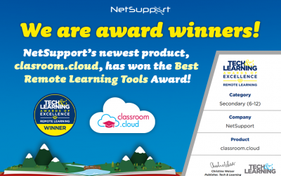 We won Tech & Learning's Best Remote Learning Tools for classroom.cloud!